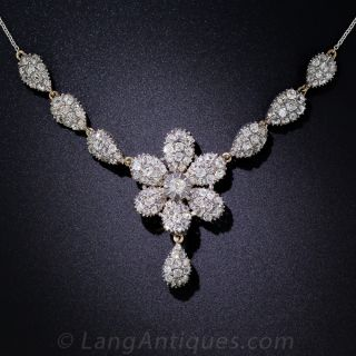 Antique Diamond Flower Necklace - 1