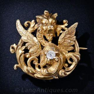 Antique Diamond Gargoyle Brooch
