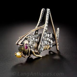 Antique Diamond Grasshopper Brooch