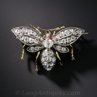 Antique Diamond Insect Brooch - 2