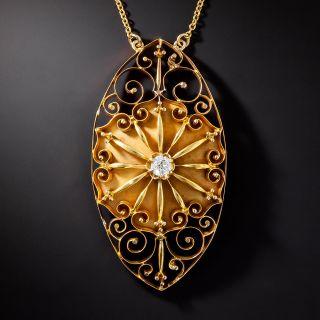 Antique Diamond Navette Necklace, Circa 1900s - 1