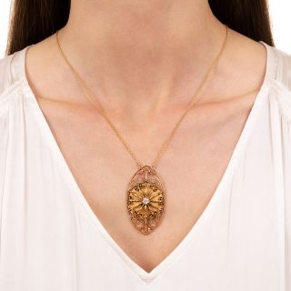 Antique Diamond Navette Necklace, Circa 1900s