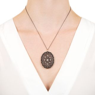 Antique Diamond Openwork Pendant Necklace