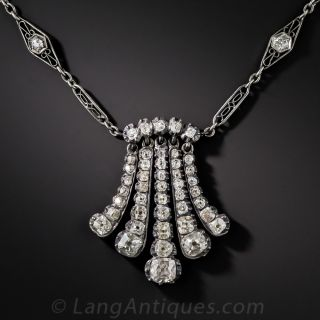 Antique Diamond Pendant Tassel Necklace - 2