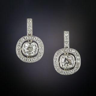 Antique Diamond Platinum Earrings - 2