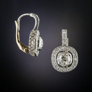 Antique Diamond Platinum Earrings