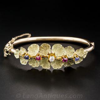 Antique Diamond, Ruby and Sapphire Bangle Bracelet