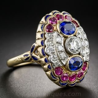 Antique Diamond, Sapphire and Ruby Dinner Ring