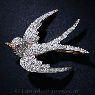Antique Diamond Swallow Pin - 1