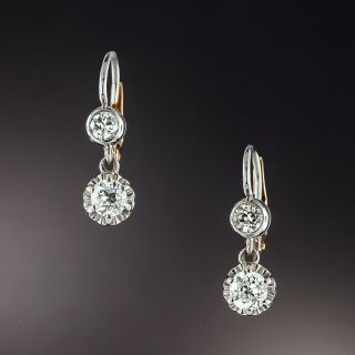 Antique Double Diamond Dangle Earrings - 1