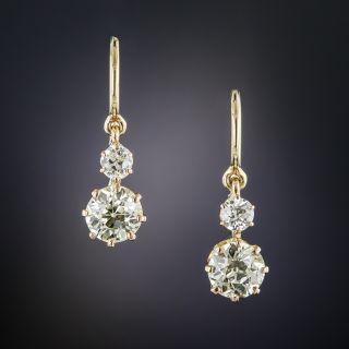 Antique Double Diamond Drop Earrings - 2