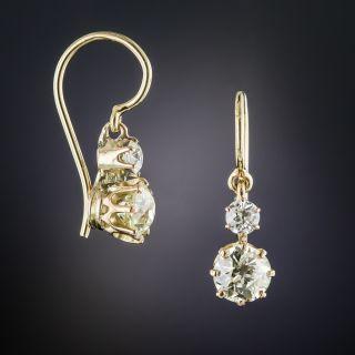 Antique Double Diamond Drop Earrings