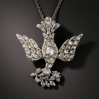 Antique Dove & Olive Branch Diamond Pendant - 2