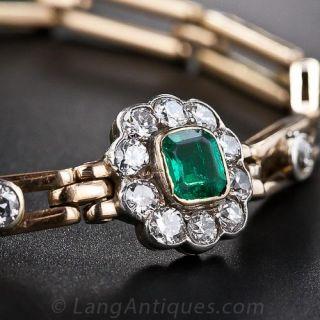 Early 20th Century Emerald and Diamond Bracelet