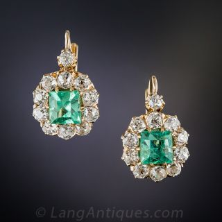 Antique Emerald and Diamond Halo Earrings