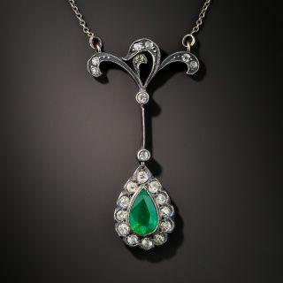 Antique Brazilian Emerald and Diamond Pendant Necklace