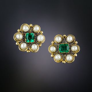 Antique Emerald and Pearl Cluster Earrings - 2