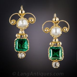 Antique Emerald, Pearl and Diamond Earrings