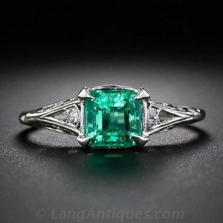 Antique Emerald Ring in Platinum