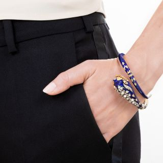 Antique Enamel and Diamond Snake Bracelet