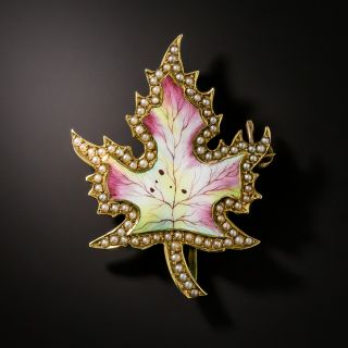 Antique Enamel and Seed Pearl Maple Leaf Brooch - 2