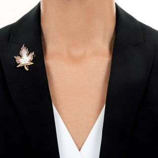 Antique Enamel and Seed Pearl Maple Leaf Brooch