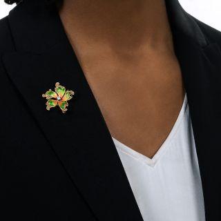 Antique Enamel Diamond Flower Pendant/Brooch