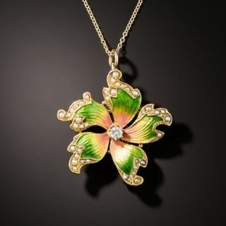 Antique Enamel Diamond Flower Pendant/Brooch - 4