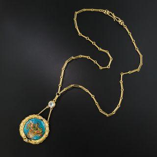 Antique Enamel Flower Basket Necklace