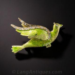 Antique Enameled Dove Pin