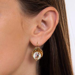 Antique Enameled Gypsy Portrait Earrings