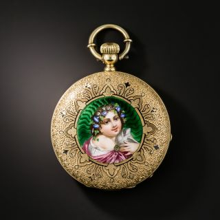 Antique Enameled Portrait Pocket Watch - 2