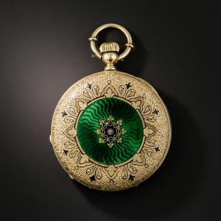 Antique Enameled Portrait Pocket Watch