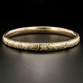 Antique Engraved Diamond Set Bangle by Bailey, Banks, & Biddle - 3