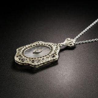 Antique Filigree Quartz and Diamond Pendant