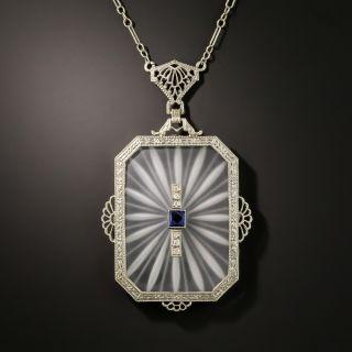 Antique Filigree Quartz, Sapphire and Diamond Pendant - 2