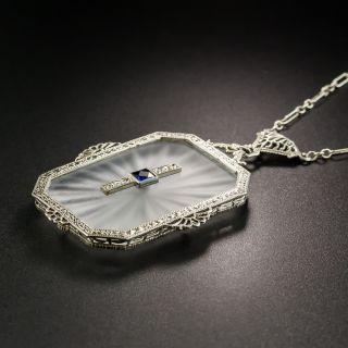 Art Deco Filigree Quartz, Sapphire and Diamond Pendant
