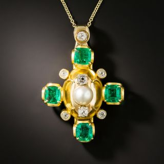 Antique Fine Emerald and Natural Pearl Necklace/Brooch - GIA Insignificant Treatment - 1
