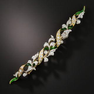 Antique Foliate Diamond Bar Pin - 1