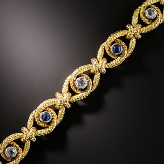 Antique French Cabochon Sapphire and Rose-Cut Diamond Bracelet  - 1