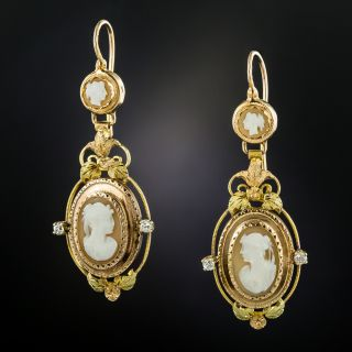 Antique French Cameo Dangle Earrings - 3