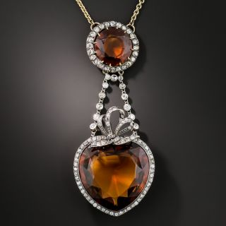 Antique French Citrine and Diamond Necklace - 3