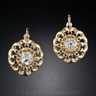 Antique French Diamond and Enamel Earrings