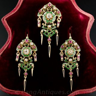 Antique French Diamond, Ruby and Enamel Suite, Circa 1880's - 1