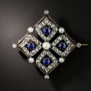 Antique French Diamond, Sapphire and Pearl Brooch - 2