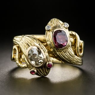 Antique French Double Snake Ruby and Diamond Ring - 2