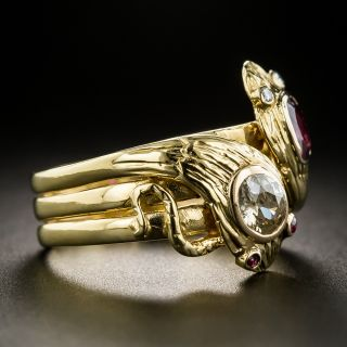 Antique French-Double Snake Ruby and Diamond Ring