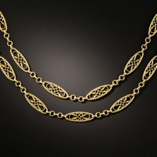 Antique French Gold Fancy Link Long Chain - 2