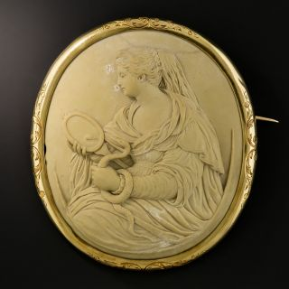 Antique French Lava Cameo Brooch Of Prudentia  - 2