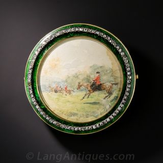 Antique French Miniature Equestrian Brooch - 2